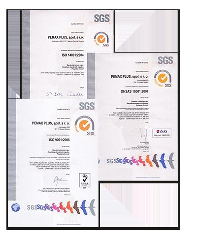 Certifikáty integrovaného manažérskeho systému spoločnosti